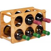 relaxdays wijnrek voor 6 flessen - flessenhouder - flessenrek - bamboe - wijnstandaard