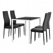 [en.casa] Juego de comedor moderno mesa blanco/ negro + 4 sillas negras