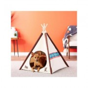 P.L.A.Y. Pet Lifestyle and You Teepee Tent Covered Cat & Dog Bed, Classic Eggshell