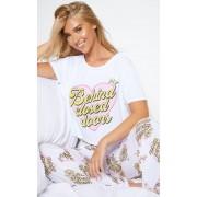 PrettyLittleThing Ensemble pyjama blanc imprimé Behind Closed Doors, Blanc - M
