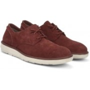 Clarks Fayeman Lace Red Suede Corporate Casuals For Men(Maroon)