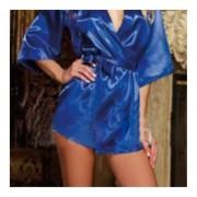 Solid Color Sexy Bathrobe Backless Lace Splice Kimono Sauna Robe Home Bathrobe Blue