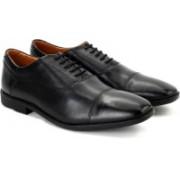 Clarks Glenrise Cap Black Leather Lace Up For Men(Black)