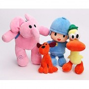 iDream Cute Pocoyo Friends (Pocoyo Elly Pato Loula) Soft Plush Stuffed Cartoon Figure Toy Doll Gift For Kids (Set of 4)