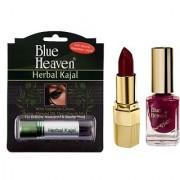 Blue Heaven Xpression Lipstick M 020 Xpression Nail Paint 921 Herbal Kajal Combo.(Set of 3)