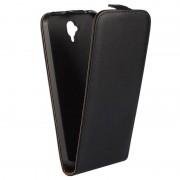 Bolsa em Pele com Cobertura Vertical para Huawei Y560 - Preto