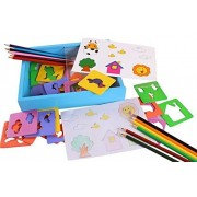 Wooden Drawing Stencils Art Set for Kids with 30 Shapes Awesome Kit & Lightweight Travel Activity for Children with Wooden Box