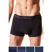 Mens Next Mixed Pattern Hipsters Four Pack - Navy