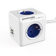 Allocacoc PowerCube extended USB met 1,5m kabel Wit / Blauw