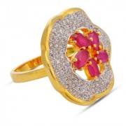 Tistabene Retails Trendy Designer Floral Red Stones Two Tone Plated Party Wear Cocktail Ring For Women Girls (RI-0654)