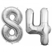 De-Ultimate Solid Silver Color 2 Digit Number (84) 3d Foil Balloon for Birthday Celebration Anniversary Parties