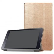 Notesz / mappa tok - ARANY - oldalra nyíló flip cover, TRIFOLD asztali tartó funkciós, mágneses záródás - SAMSUNG SM-T380 Galaxy Tab A 8.0 (2017) / SAMSUNG SM-T385 Galaxy Tab A 8.0 (2017) (4G/LTE)