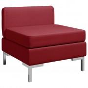 vidaXL Модулен среден диван с възглавница, текстил, виненочервен