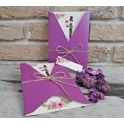 Invitatie nunta cu elemente florale cod 2752