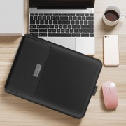 Universal Laptop Bag Laptop Sleeve Leather Bag with Stand Function for MacBook 11/12 inches - Black