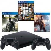 Конзола PlayStation 4 Slim 500GB Black, Sony PS4+Игра Battlefield 1+Игра Call of Duty: Infinite Warfare +Игра GTAV (GTA5)+ Геймпад - DualShock 4