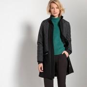 Manteau bi-matière mi-long fermeture zippée