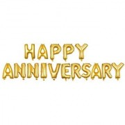 Utkarsh Happy Wedding Anniversary Solid Printed Golden Color Alphabets Letter Foil-Air Balloon For Party Decorations