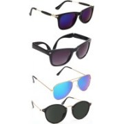 Criba Wayfarer, Aviator, Wrap-around, Over-sized Sunglasses(Multicolor, Blue, Grey, Black)
