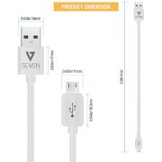 V7 Micro USB Cable 2.0 Amp Fast Charging High Speed Data Cable White (1 M) Micro USB Cable Black (Pack of 2) Combo