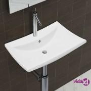 vidaXL Luksuzni keramički pravokutni umivaonik sa preljevom i rupom za slavinu