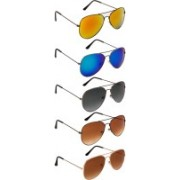 NuVew Aviator Sunglasses(Blue, Brown, Grey, Golden, Green, Violet)