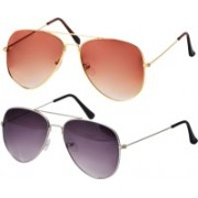 Freny Exim Aviator Sunglasses(Orange, Violet)