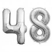 De-Ultimate Solid Silver Color 2 Digit Number (48) 3d Foil Balloon for Birthday Celebration Anniversary Parties