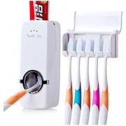 Touch Me Automatic Toothpaste Dispenser Kit With 5 Toothbrush Holder Slot (White)