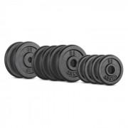 IPB 25 kg Conjunto de Placas de Peso 4 x 1,25 kg + 4 x 2,5 kg + 2 x 5 kg 30 mm