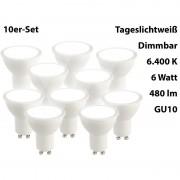 Luminea LED-Spot GU10, 6 Watt, 480 Lumen, A+, tageslichtweiss 6.400 K, 10er-Set