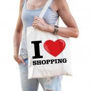 Shoppartners Katoenen tasje I love shopping