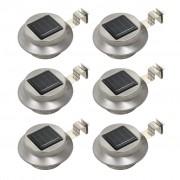 vidaXL Градински соларни лампи, 6 бр, LED, кръгли, 12 см, бели