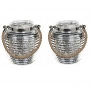 Geen Woondecoratie vensterbank lantaarns zilver 2 stuks