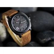 Curren Round Dial Brown Leather Strap Quartz Watch for Men