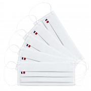 MASQUES DIRECT 5 Masques pour enfants 3 plis en tissu lavable réutilisable blanc - testé 10 lavages