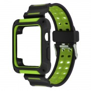 XINCUCO Bi-color Soft Silicone Wrist Watch Strap + Watch Frame for Apple Watch Series 3 / 2 / 1 42mm - Green