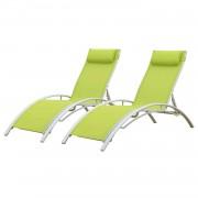 Happy Garden Transat en textilène GALAPAGOS - lot de 2 - textilène vert/structure blanche