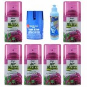 Pachet 6 bucati - Odorizant camera Mega Air Bllitz Rezerva Tea and Rose 6 x 220ml + Sano Blue odorizant pentru WC 150g +