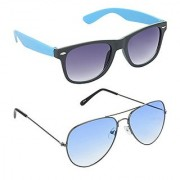 Hrinkar Grey Mirrored Wayfarer Unisex Sunglasses
