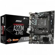 MSI Main Board Desktop A320 SAM4, 2xDDR4, PCI-Ex16, PCI-Ex1, USB3.2, USB2.0, SATA III, HDMI, DVI-D, GLAN mATX Retail A320M-A_PRO