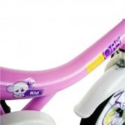 Bicicleta copii 16 Velors V1602B cadru otel roz alb si roti ajutatoare