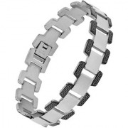 The Jewelbox Italian 316L Surgical Stainless Steel Black Rhodium Plated Bracelet For Boys Men