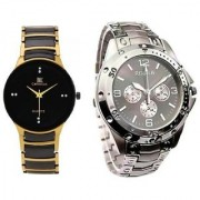 IIK Collection Round Dial Black & Silver Metal Strap Quartz Watch for Men (Combo of 2)