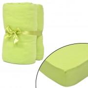 vidaXL Hoeslaken voor matras 180x200-200x220 cm katoenjersey (groen) 2 stuks