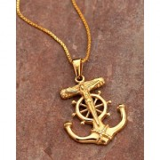 Dare by Voylla Royal Pendants Anchor and Wheel Pendant With Chain