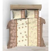 Krepp ágynemű huzat garnitúra 3 részes 140x220 cm - barna - narancs virágos