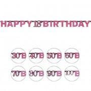 Liragram Guirnalda de Pink Birthday - 2,13 m - Número 90