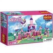 COGO Toys for Girls Princess Toy Fairy Dreams Castle Building Blocks Construction Toy Set Pink Princess Castle Bricks 346 Pcs 3273