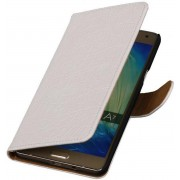 Samsung Galaxy A7 2015 A700F Hoesje Krokodil Bookstyle Wit